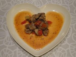 鶏レバーとセロリのトマト煮 完成図